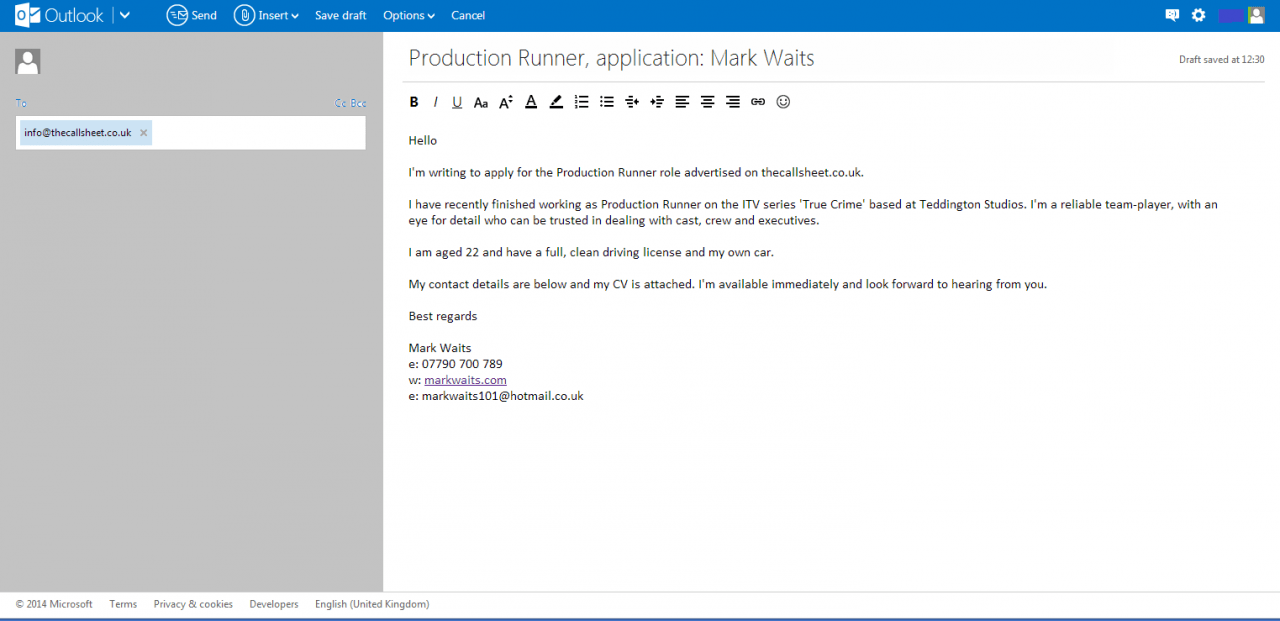 what to write email application