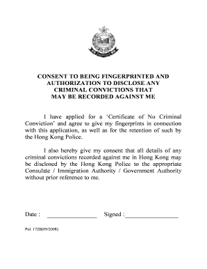 application for certificate of no criminal conviction hk