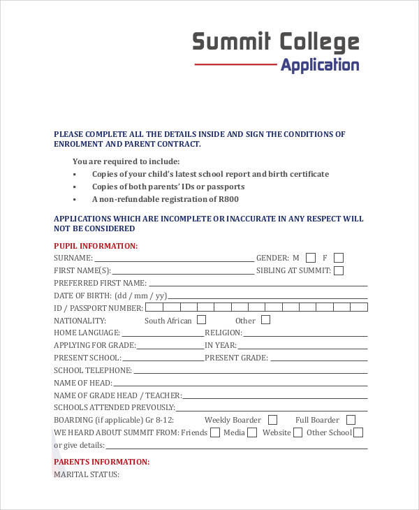 html code for college application form