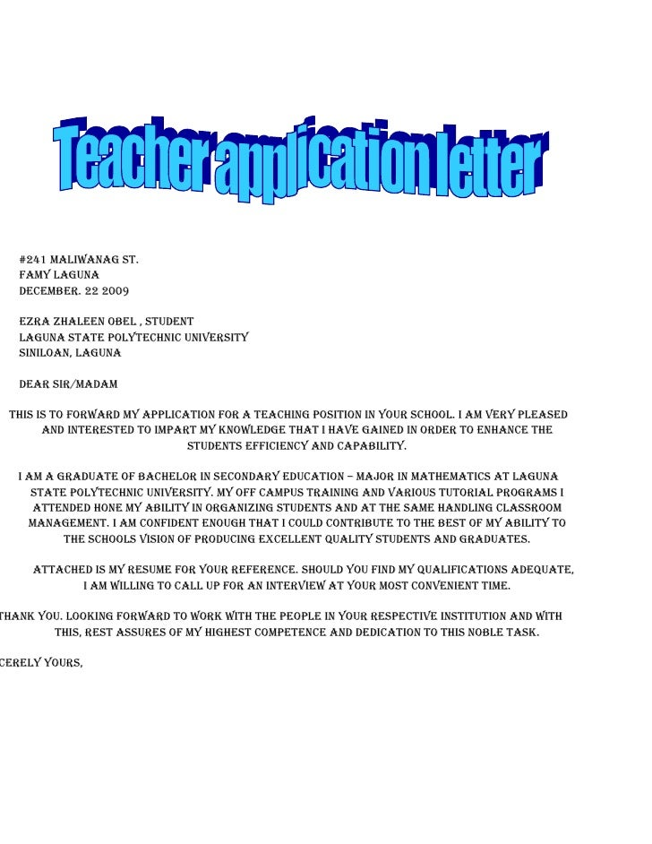 what is in a letter of application