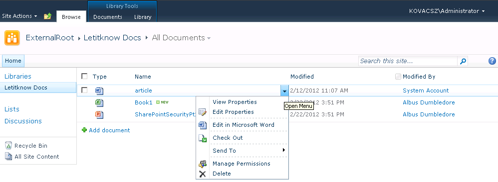 open documents in client applications by default site