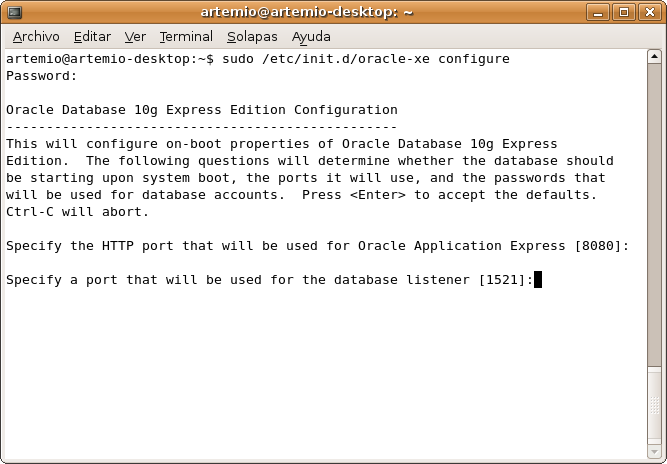 oracle xe application express default password