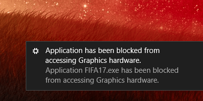 application has been blocked from accessing graphics