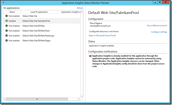 disable application insights visual studio 2015