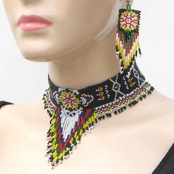 beaded applique necklace native american