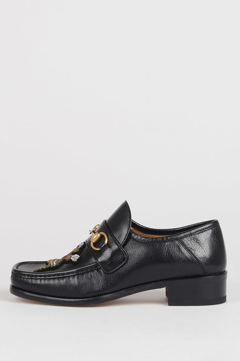 gucci embroidered moccasins with appliqued mirrors