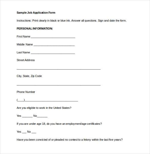 job application form sample format pdf