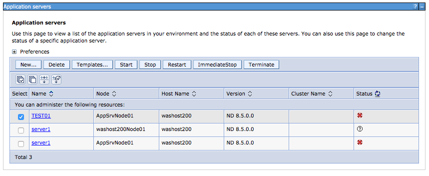 jvm arguments in websphere application server console