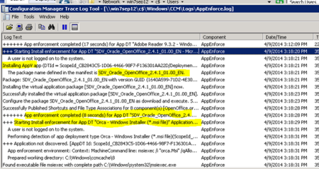 sccm application deployment pre task