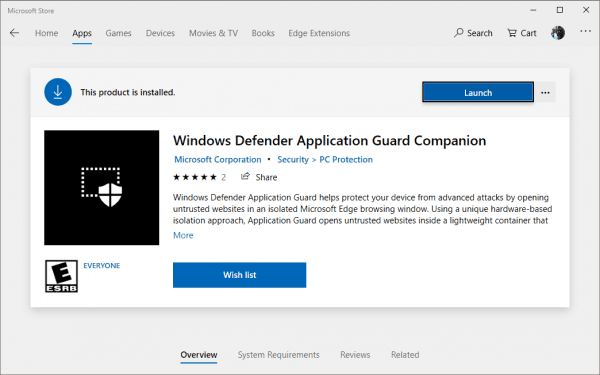 turn off windows application guard